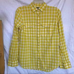 J. Crew Yellow Gingham Utility Shirt Sz 2